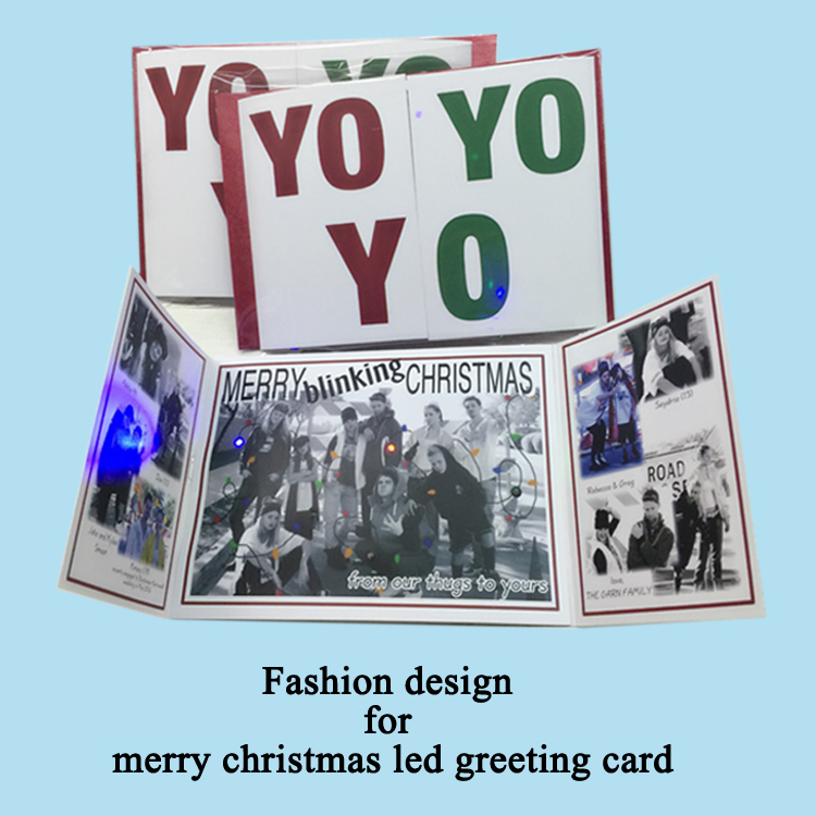 led photo greeting card showing and packing