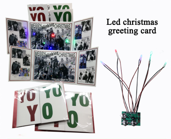 Custom best wishes Xmas greeting cards with led musical chip