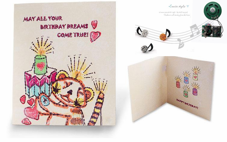 Newest Birthday Music greeting card with Led LIghts Facotry Design