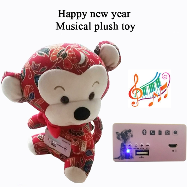 Happy new year monkey plush toy with bluetooth